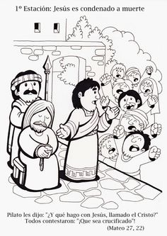 Jesus before Pilate Sunday School Projects, Sunday School Activities, Bible Activities, Bible Coloring Pages, Cool Coloring Pages, Catholic Kids, Kids Church, Idees Cate, Religion Catolica