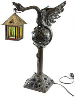 Circa 1900 Bronze Griffin Lamp SOLD: Au Fil de l'Eau Antiques