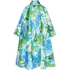 Floral Dress Coat | Moda Operandi ($3,240) ❤ liked on Polyvore featuring outerwear, coats, richard quinn, floral print coats, floral coat, oversized coats, polka dot coat and patchwork coat