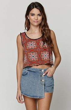 e6e24667cc Shared Via ShopJester  The women s Pom Pom Cropped Tank by LA Hearts  features a cropped cut and paisley print throughout. We love the adorable  pom pom trim ...