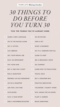 The greatest list of Bucket List Ideas ever. Now you can design the life goals that you have always wanted. Create your Bucket List with these goals in life Vie Motivation, Things To Do When Bored, 30 Things To Do Before 30, 30 Before 30 List, Self Care Activities, Couple Activities, Learn A New Language, Instagram Story Template, Instagram Templates
