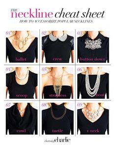 Necklaces for various necklines cheat sheet