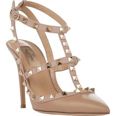 Valentino Rockstud Slingback Pumps (12 880 ZAR) ❤ liked on Polyvore featuring shoes, pumps, heels, sapatos, ankle strap shoes, buckle shoes, leather sole shoes, pointed toe ankle strap pumps and spiked heel pumps
