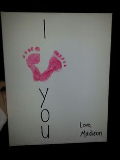 footprints as a heart on a canvaswrite message around them just did this for valentines day with my daughter for her daddy such a sweet gift - Valentines Gifts For Daughters