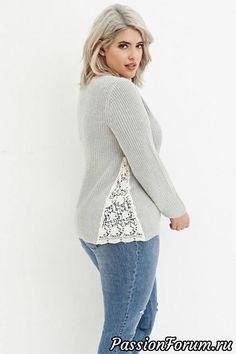 Diy Crafts - Plus Size Floral Crochet-Paneled Rib Sweater Old Sweater, Ribbed Sweater, Lace Sweater, Maroon Sweater, Purple Sweater, Sweater Shop, Umgestaltete Shirts, Band Shirts, Diy Clothes Refashion