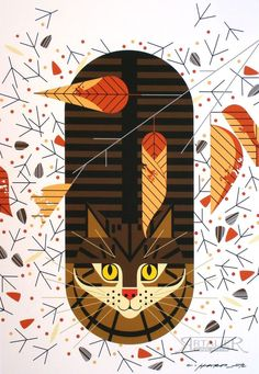 Charlie/Charley Harper - Purrfectly Perched - No. 371 - Cert of Auth - cat art #Minimalism