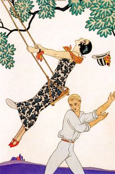'THE SWING' by GEORGES BARBIER (1882-1932)