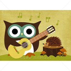 153R Retro Owl Playing Guitar with Hedgehog 5 x 7 by leearthaus, $15.00