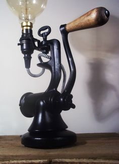 Up-Cycled Antique/Vintage Cast Iron Industrial/Steampunk Table Lamp Black | eBay