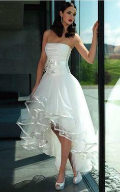 Short front / back long wedding dresses - Hochzeitskleid kurz - Vestidos Cheap Evening Dresses, Long Wedding Dresses, Cheap Wedding Dress, Cheap Dresses, Short Dresses, Dresses Dresses, Bridesmaid Dresses, Wedding Robe, Wedding Gowns