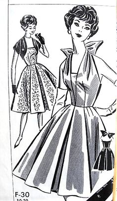 1950s GORGEOUS Evening Cocktail Party Dress and Jacket Pattern Pattorama F30 Clever Formal or Summer Dress 3 Versions Bust 36 Vintage Sewing Pattern