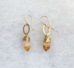 Citrine Rough Teardrop 18mm Dangling From Hammered 14K Gold Filled Oval Links Hanging From a Hand-crafted Fishhook Ear Wires - WOW256 by designbyAnnaLisa on Etsy