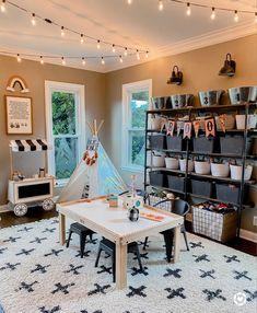 Playroom Design, Office Playroom, Playroom Decor, Sunroom Playroom, Basement Play Area, Living Room Playroom, Basement Gym, Playroom Storage, Basement Ideas