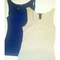 BOGOH&M Basics Bundle Two stretchy layering tanks in perfect condition - royal blue and heathered tan. H&M Tops Tank Tops