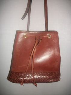 Vintage Cross Body Brown Leather Drawstring Pouch Bag.  Braid Trim.  Etienne Aigner.  http://stores.ebay.com/Classy-Fashions-and-Accessories?_trksid=p4340.l2563