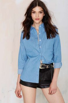 Nasty Gal Tennessee Chambray Blouse