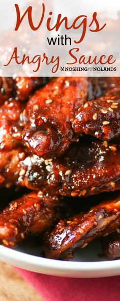 Wings with Angry Sauce by Noshing With The Nolands, with their fiery sweet heat,… – Kolay yemek Tarifleri Cooking Chicken Wings, Chicken Wing Sauces, Chicken Wing Recipes, Spicy Wings, Chicken Wings Spicy, Chicken Breasts, Chicken Thighs, Grilling Recipes, Cooking Recipes