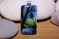 Owl in Tree  Dichroic Necklace  Dichroic Glass by SBattellGlass, $35.00