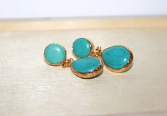 Turquoise Gemstone Drop Earrings / Dangle Statement by JewelrybyOz - Bridesmaid jewelry set of 3 4 5 6 7 8 9 10 12