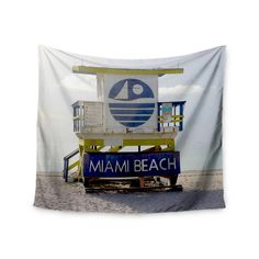 """Philip Brown """"Miami Beach Lifeguard Stand"""" Blue Multicolor Wall Tapestry"""