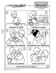 Imagerie: les règles de vie French Immersion, Worksheets, Kindergarten, Language, Comics, Recherche Google, Animation, School, Diy