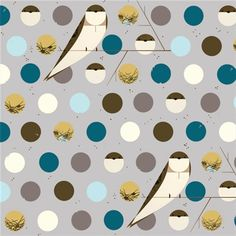 KNIT Organic Cotton Fabric- Birch - Charley Harper-BANK SWALLOW blue  - Great Shipping Rates