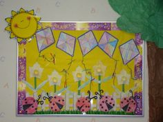 Spring Bulletin Board-Each grade level in my class could make a different geometric item... kites, flowers, ladybugs