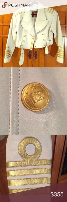 Michael Hoban North Beach glam jacket Vintage white leather with gold trim is gold buttons size 9 made in Hong Kong very glam Michael Hoban Jackets & Coats