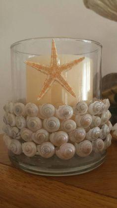 Seashell Candleholder, Seashell, Starfish Candleholder, Seashell Decor, Seashell Home Decor, Shell Candleholder