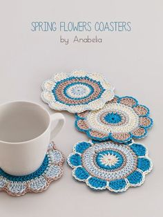 Anabelia craft design: Spring flowers crochet coasters pattern by dawnPretty flowers coaster crochet patterns for early xmas gift projectsSpring Flowers coasters 2 eu I love the simple color combo she used on theseSpring-flowers-coasters : make it bigger Crochet Diy, Crochet Motifs, Crochet Flower Patterns, Crochet Squares, Crochet Home, Love Crochet, Crochet Gifts, Crochet Designs, Crochet Doilies