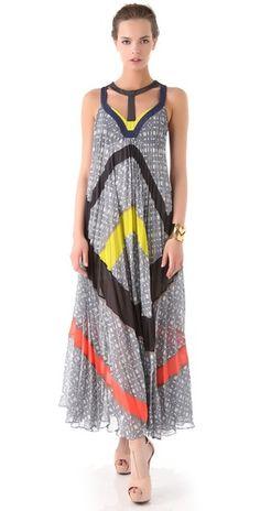 Love the pops of color and the interesting neckline. -BCBGMAXAZRIA The Ella Maxi Dress