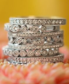 Aw, my wedding band (2nd from bottom)...getting another for for our 1st anniversary for stacking :)