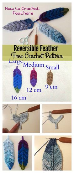 gorgeous Reversible Crochet Feathers are ideal for use as book markers, key ring and dreamcatcher. The Reversible Feather Free Crochet Pattern is easy to work u