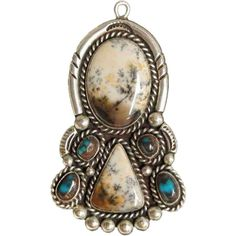 Large Vintage Native American Silver, Moss Agate & Turquoise Pin/Pendant