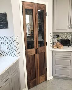 Our Home HIS & HER HOME black walnut double pantry doors Sharp Solar – Solar Energy Manufacturer As Kitchen Pantry Doors, Pantry Room, Kitchen Pantry Design, Kitchen Redo, Kitchen Remodel, Kitchen With Corner Pantry, Rustic Pantry Door, Wooden Pantry, Sliding Pantry Doors