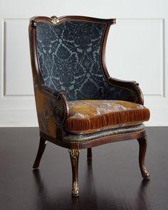 Dominique Chair, Gold/Blue/Brown - Massoud