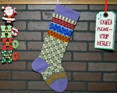 Colorful Hand Knit Christmas Stocking, Fair Isle Design, Lavender Cuff with Blue Hearts, can be personalized, Wedding Gift, Shower Gift