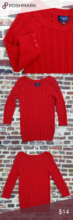 AMERICAN EAGLE cardinal red cable sweater sz M Cute AS 3/4 sleeve cable sweater in a vibrant red. Button detail on sleeve. Size M. American Eagle Outfitters Sweaters