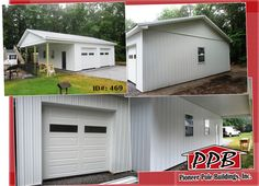 """Interested in a Carport?   Dimensions: 30' W x 36' L x 10' 4"""" H - ID#: 469 30' Standard Trusses, 4' on Center, 4/12 Pitch  Colors: Siding Color: White Roofing Color: Charcoal Trim Color: Brite White  Openings: (2) 9' x 8' Residential Classic Door with 2 Windows (1) 3068 9-Lite Insulated Entry Door (4) 3' W x 4' H Single Hung Windows with Grids  Total Cost: $16,806  More Details! http://pioneerpolebuildings.com/portfolio/project/30-w-x-36-l-x-10-4-h-id-469-total-cost-contact-us1  #Carport…"""