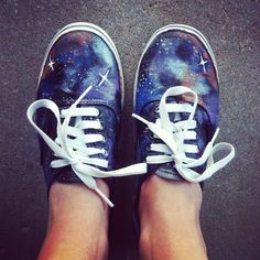Starry night painted shoes -- I am still a kid at heart, so I absolutely want to do this to a pair of shoes for myself!