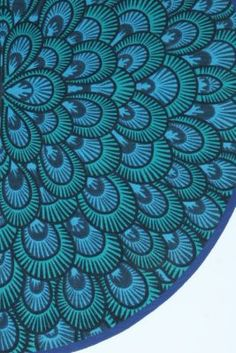 blue & green peacock feather pattern.