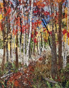 "Autumn Impressionistic Art Quilt –  by Ann Loveless ""Autumn"" is a woodland scene with yellow, orange and red leaves."