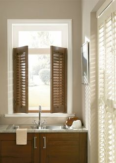 Shutters can create a beautiful continental look in your home dark wood feature with white or cream walls really bring this theme to home. Made to measure cafe style shutters would finish this look off perfectly. Cafe Style Shutters, Cafe Shutters, Wooden Shutters, Window Shutters, Wood Windows, Blinds For Windows, Waterproof Blinds, Made To Measure Blinds, Cream Walls