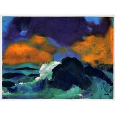1970 Print Emil Nolde Crashing Wave Seascape Abstract