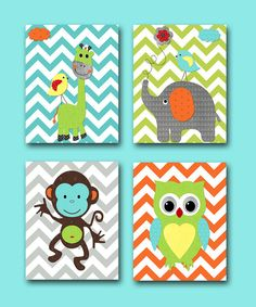 Monkey Nursery Owl Nursery Giraffe Nursery Elephant Nursery Baby Boy Nursery art print Children Wall Art Baby Room Decor print set of 4 8x10...I want them all!