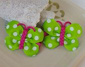 Bright Butterfly Hair Bows in Hot Pink, Yellow, and Orange