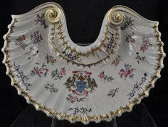Antique Samson Gilt and HP Shell Form Armorial Curved Console Bowl