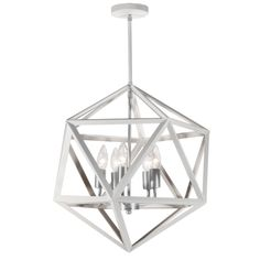 ARC-185C-WH-SC | 5 Light Chandelier, Matte White with Satin Chrome Accents - ARC-185C-WH-SC