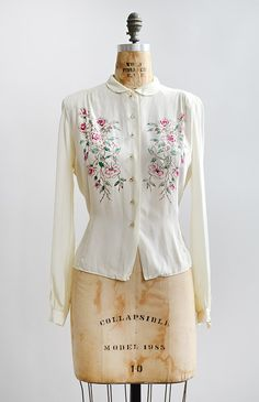 vintage 1940s hand painted roses silk blouse [La Romance d'Ariel Blouse] - $188.00 : Vintage & Vintage Inspired Clothing, Adored Vintage, Portland Oregon