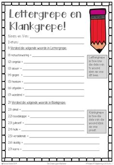 5 HT ('n Dame verkoop die interessante werksboeke op FB) Afrikaans Language, Teacher Poems, Teachers Aide, Kids Learning Activities, Too Cool For School, Teacher Hacks, Worksheets For Kids, Design Quotes, Schedule Printable